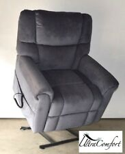 HEPBURN LIFT CHAIR RECLINER - ELECTRIC MOTOR - TEXTURED BLUE FABRIC
