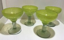 Set Of 4 Lime Green Margarita Glasses Hand Blown
