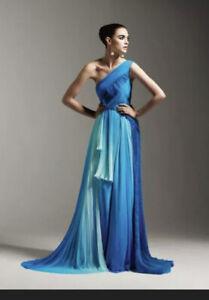 Rafael Cennamo Haute Couture Silk Chiffon Blue Dress Gown Sz L New Rtl $8,875
