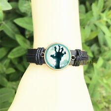 Zombie Dead hand Black Bangle 20 mm Glass Cabochon Leather Charm Bracelet