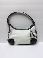 The Sak Classic Black & White Pebble Leather Hobo Shoulder Bag Purse Med NWOT
