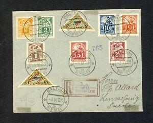 Estonia 1923 Registered Cover to Sweden