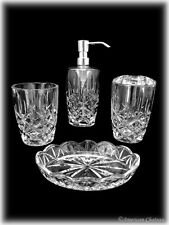 4pc Lead-Free Cut Crystal Bathroom Accessory Set (Lotion/ Soap/Toothbrush/Cup)