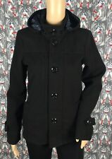 Bershka Women's Black Peacoat Hoodie Buttons Down Size XS/S Excellent Condition