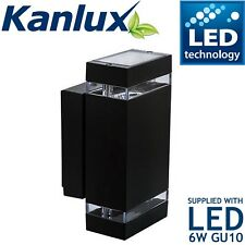 Indoor / Outdoor Black LED Wall Light Exterior Up And Down Garden Lights lamp