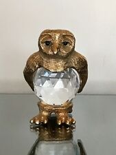 CRYSTAL and PEWTER OWL a large and heavy piece VINTAGE 1984