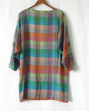 Vtg Cole of California Tunic Cover-Up Chiffon Cotton Long Sleeve Multi-Color M