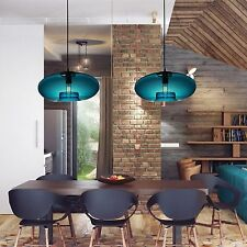 60W Modern Blue Round Glass Globe Ceiling Light Pendant Lamp Fixture Chandelier