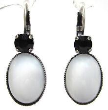 SoHo® Ohrhänger schwarz weiß Kristalle jet & böhmisches Glas oval white opal