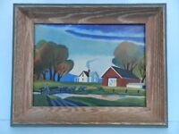 GORGEOUS V. WILLEY SIGNED ORIGINAL ART NAIVE/PRIMITIVE FARM PAINTING Framed