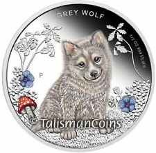Tuvalu 2013 Forest Babies #1 Grey Wolf Baby Cub 50 Cents Pure Silver Color Proof