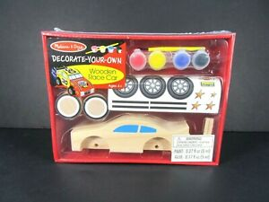 New Melissa & Doug Decorate-Your-Own Wooden Race Car Craft Kit Easy Assemble Kid