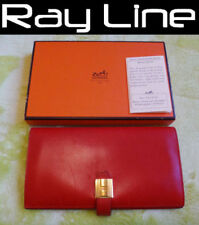 100% authentic Hermes wallet two-fold Cadena wallet Gold hardware red used