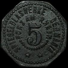 NOTGELD: 5 Pfennig. SPIEGELGLASWERKE GERMANIA - PORZ AM RHEIN ⇒ KÖLN.