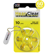 60 HearClear Hearing Aid Batteries Size 10 + Free Keychain/2 Extra Batteries