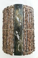 Exotische Wandlampe aus Zweigen und Metall mit Geckomotiv 30cm