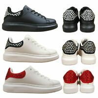 Womens Ladies Studded Running Gym Lace Up Trainers Shoes Sizes UK 3 4 5 6 7 8