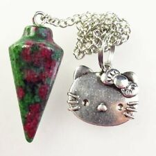 K66666 Ruby In Fuchsite Pendulum Tibetan Silver Cat Pendant Bead