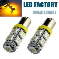 2X Yellow BA9S T4W H6W 9SMD LED W5W Car Indicator DOME Light Bulbs Lamps #HA1