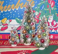 Vintage Style Pastel Bottle Brush Trees Loaded with Ornaments Set of 3 New