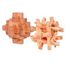 2pcs Puzzles Casse-têtes Jouets en Bois Kong Ming Serrure
