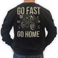 BIKER Sweater GO FAST Motorrad Rocker Pullover Bobber Cafe Racer schwarz S-3XL