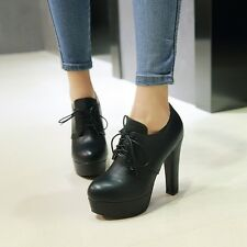 Womens Fashion Lace up Platform High Heel Pumps Court Shoes UK Size 1--12 C332