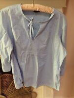 Lands End L 14 16 Light Blue V Neck2/tie Front Cotton Style Blouse
