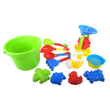 12 PCs Durable Sand Beach Toys Set Bucket Shovel Rake Kids Outdoor Play Age 3+
