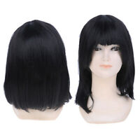 Short Bob Wigs Black Wig For Women With Bangs Straight Synthetic Wig Natural_QA