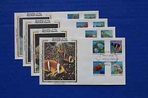 "Marshall Islands (168-183) 1988 Fish Definitives Colorano ""Silk"" FDCs"