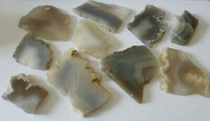 Lot of 10 Assorted Grey Colours Polished Specimen Agate Geode Slices ~ No.2