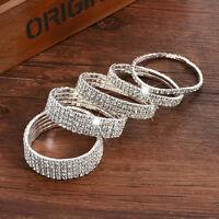 Women Silver Bling Crystal Rhinestone Stretch Elastic Bracelet Bangle Wristband