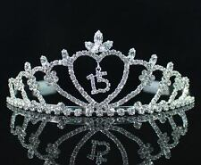 QUINCEANERA 15 FIFTEEN BIRTHDAY RHIESTONE TIARA CROWN WITH COMBS PARTY T1185