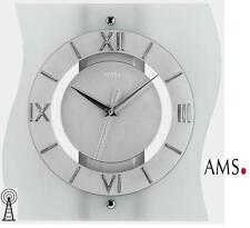 AMS Wanduhr 5909 Funk Silberlackierte Holzrückwand Satiniertes Mineralglas