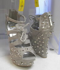 """Daria Grey/Silver Spikes 5"""" High Wedge Heel Sexy Shoes Size 5.5"""