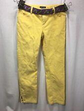 Ralph Lauren Kids Yellow Corduroy Pants Size 10 Purple Belt Zip At Ankle 24 X 24