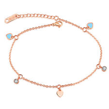Blue Heart Rose Gold GP CZ Link Chain Surgical Stainless Steel Ankle Bracelet