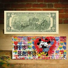 Mickey & Minnie Mouse - Life Is Beautiful $2 Genuine Bill Rency Art Hand-Signed