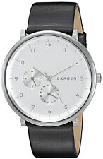 Skagen SKW6248 Silver Tone Dial Black Leather Strap Men's Watch Brand New in Box