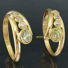 Unusual Italian Solid 18k Yellow GOLD HOOP EARRINGS with 2 Green & 6 White CZ's.