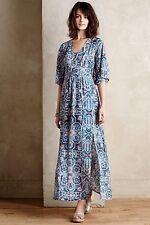 Silk Tilework Maxi Dress By Maeve SZ 2 Wedding NWT