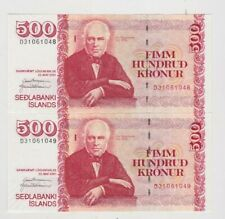 More details for two 2001 consecutive p58 iceland 500 kronur banknotes in mint condition.