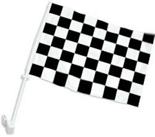 "12x18 Black White Checkered Double Sided Car Window Vehicle 12""x18"" Flag (FI)"