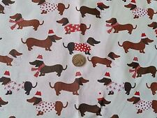Daschund Sausage Dog Christmas Xmas Polycotton fabric - price per metre
