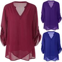 Fashion Womens Top Plus Size V-Neck Adjustable Sleeve Chiffon Solid Blouse Shirt