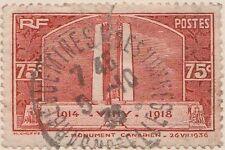 (FR24) 1936 France 75c Canadian war memorial