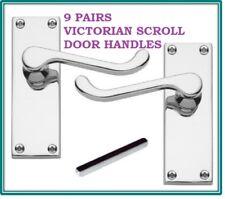 9 X Chrome DOOR HANDLE SETS VICTORIAN Scroll Latch 118mm X 43mm D24