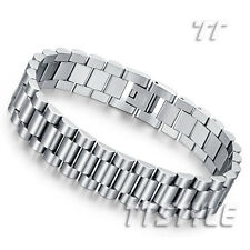 Quality THICK TT Silver Stainless Steel Biker Bracelet Wristband (BBR219) NEW