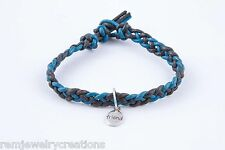 "Handcrafted Braided Leather Friendship Bracelet w/ ""Friend"" Charm Blue & Black"